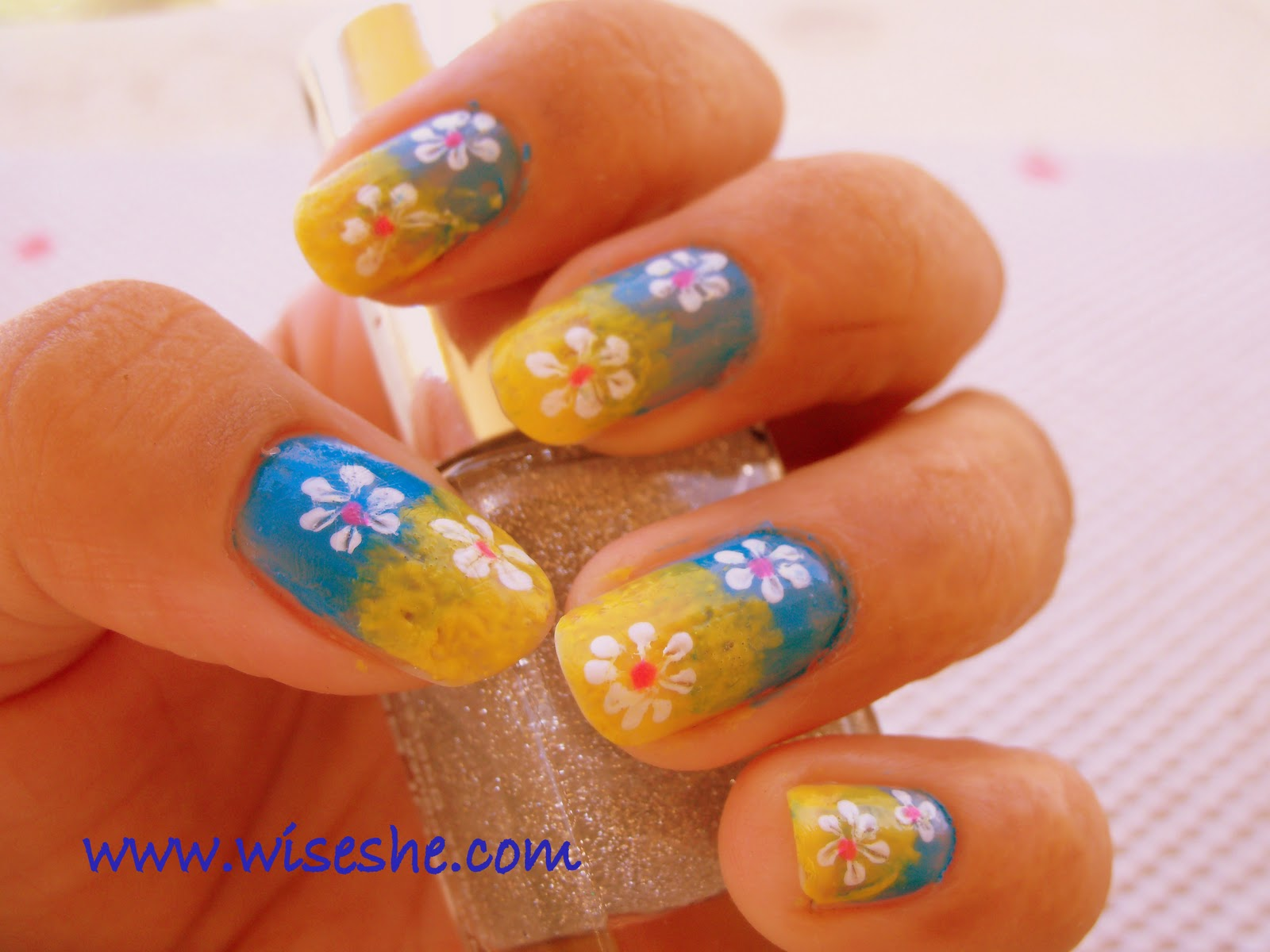 Sponge nail art free hand nail art designs in yellow and blue prinsesfo Choice Image