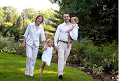 Walking as a family in the rose garden