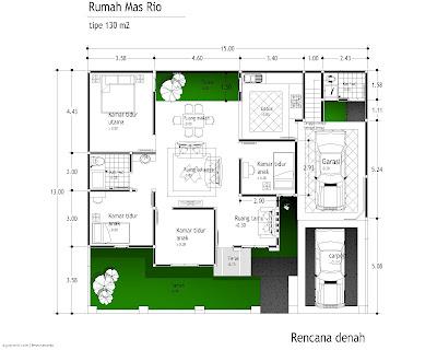 desain denah rumah minimalis 1 lantai 4 kamar