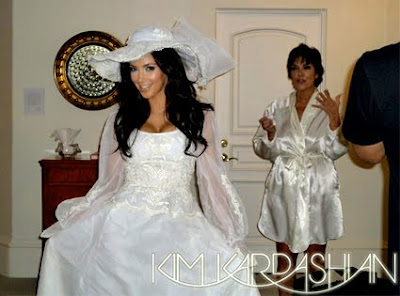 Kardashian Celebuzz on Kim Kardashian Wears Her Mom S Wedding Dress