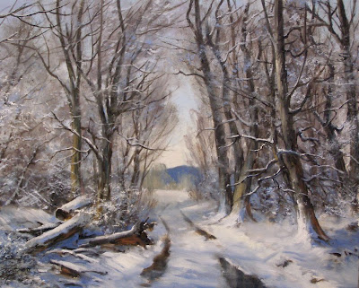 River studio along a winter morning walk 16 x 20 oil on canvas