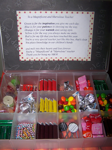 Include the M&M Teacher poem that can be added to your cute box on the ...