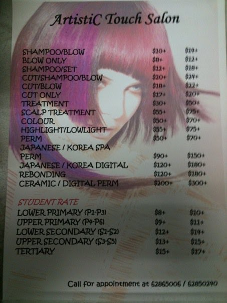 Artistic touch salon pricelist for hair services for A touch of beauty salon