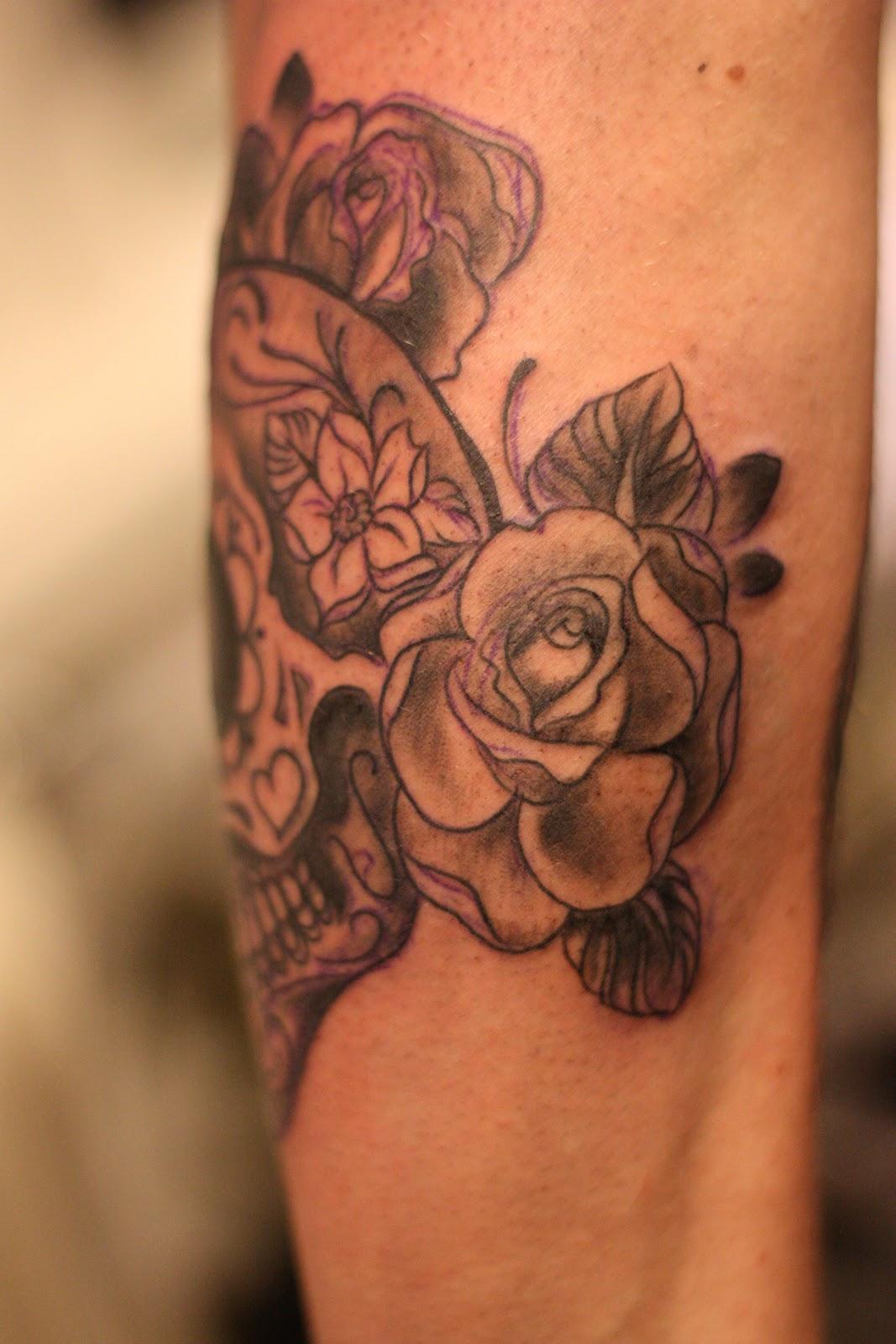 ink sugar skull n flower sleeve in progress