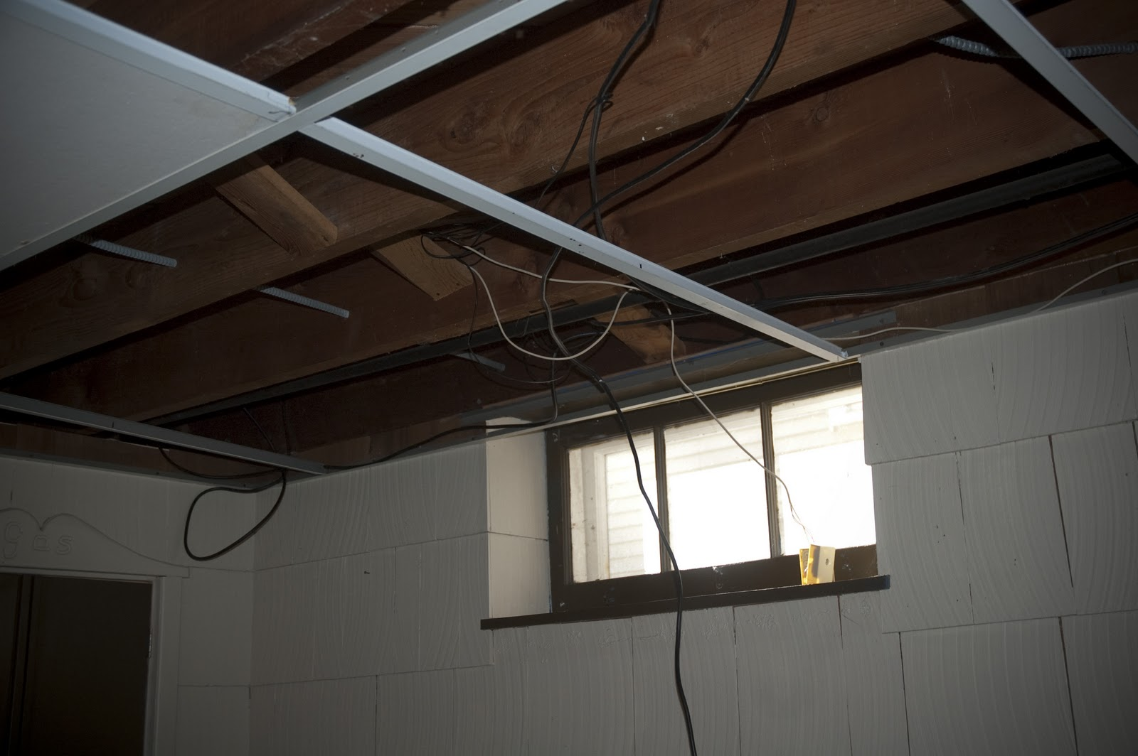 the organized mctatty basement drop ceiling is down