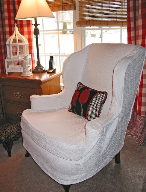 white matelasse slipcovered wingback chairs - Slipcover For Wingback Chair