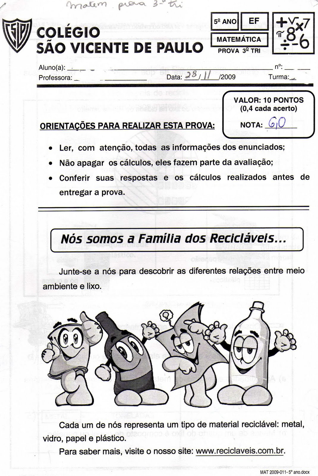 Ensino Fundamental 5   Ano
