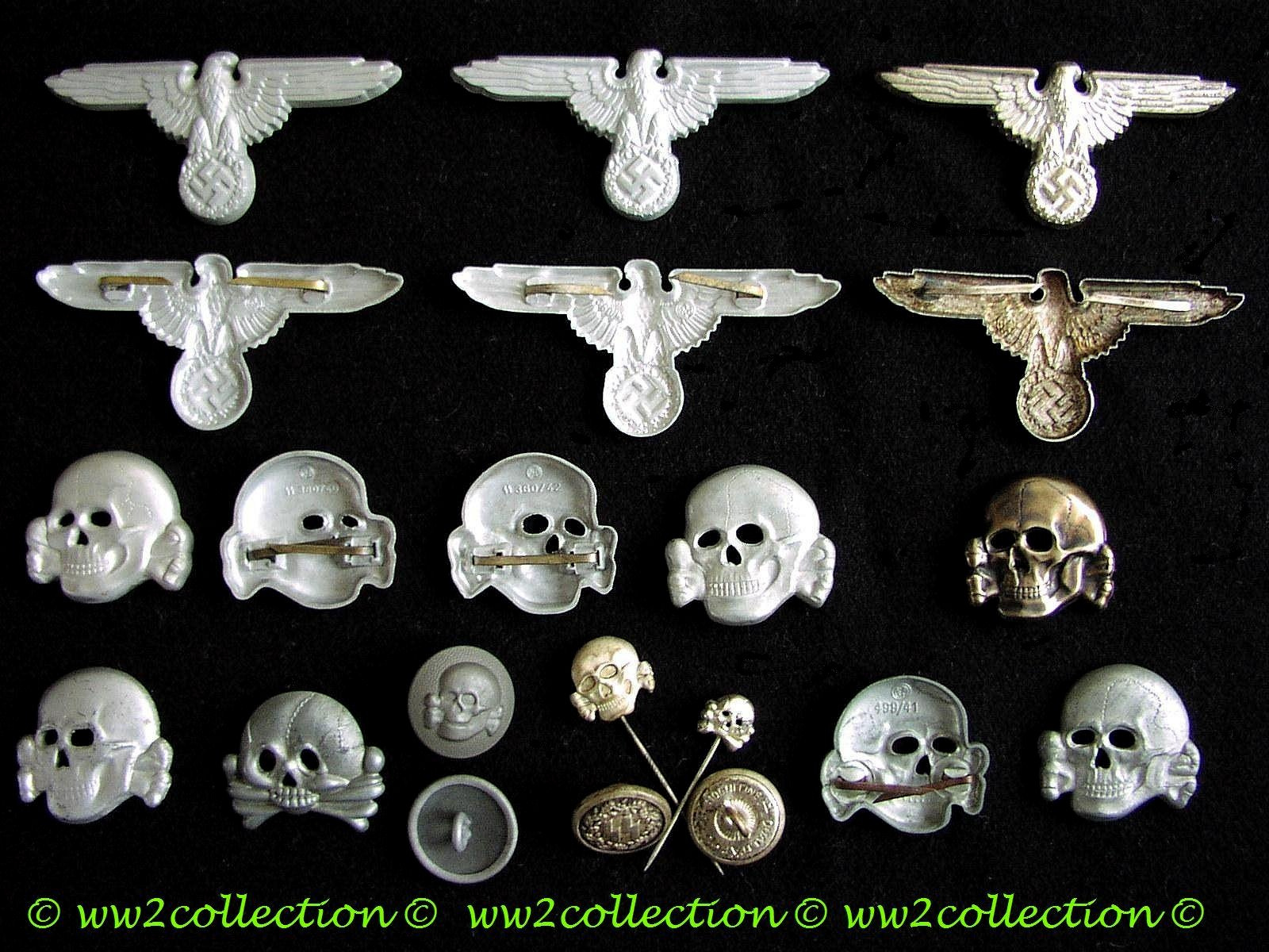 Metal SS Capeagle and SS Skull RZM 499/41, Authentic WW2