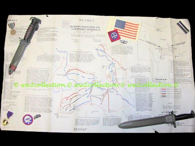 Operation Overlord, Normandy 1944,  D-Day Invasion Battle map American Paratroopers World War II