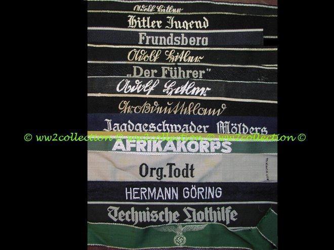 Cufftitles 3rd Reich Ärmelstreifen, sleeve bands LAH Leibstandarte, Hitlerjugend, Frundsberg