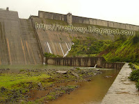 The Wall of Varagaon dam of Pune in India