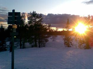 Solnedgang på skimten