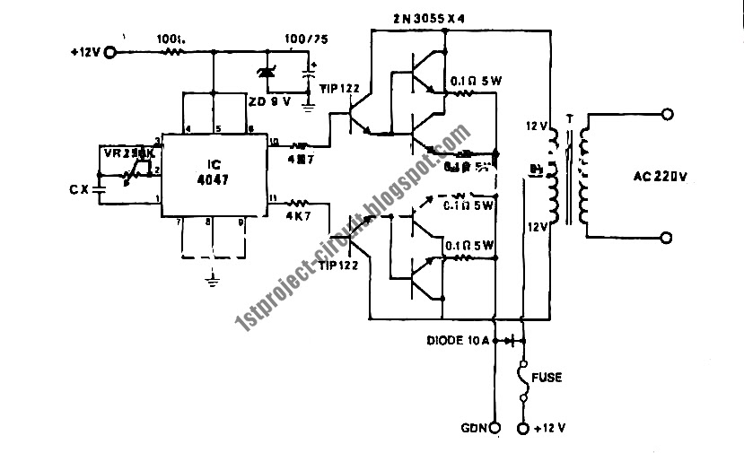 project circuit design  100watt inverter circuit using 4047 ic