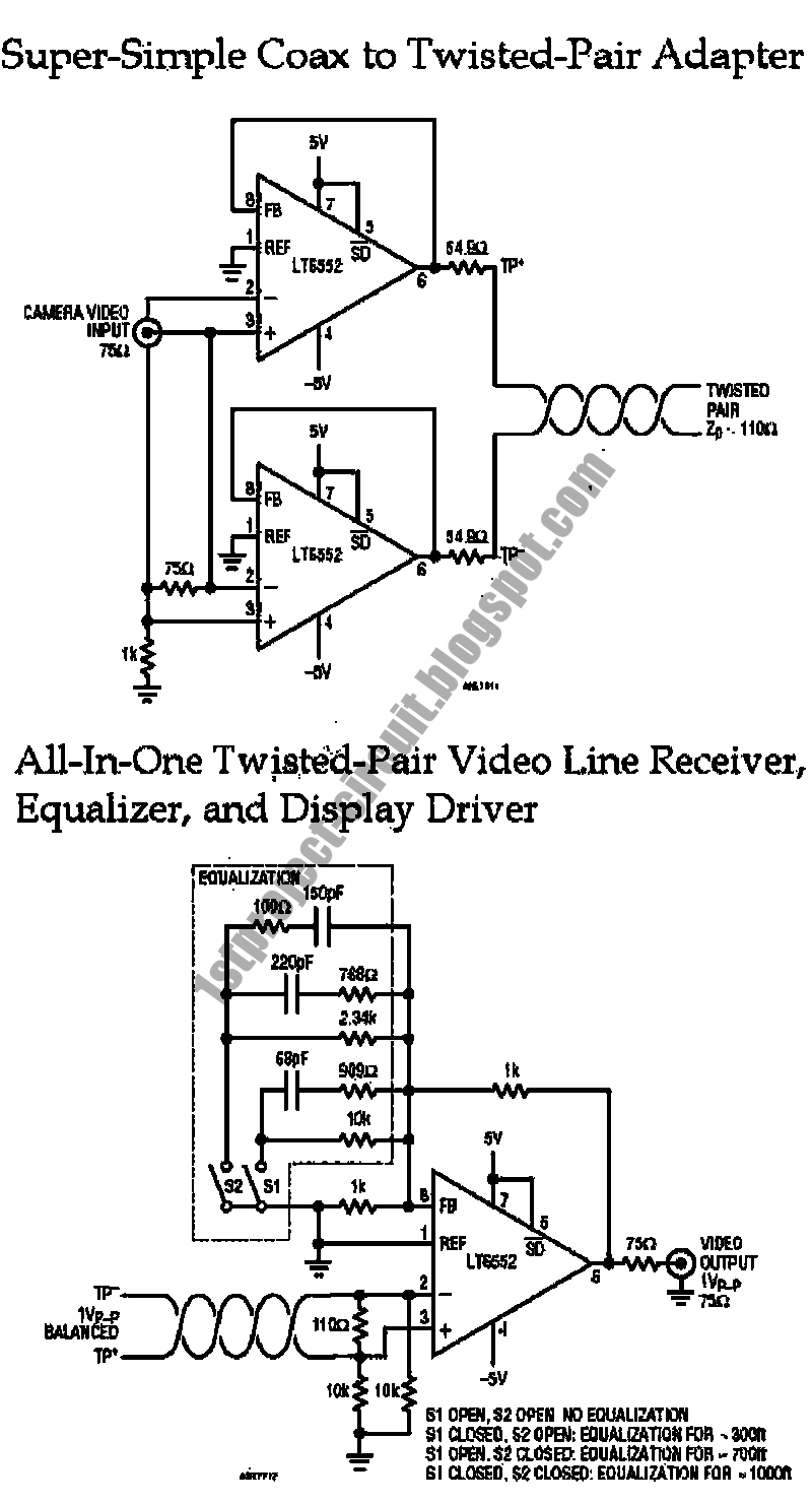 project circuit design  twisted pair video cable driver and receiver circuit