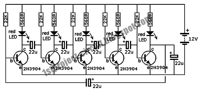 project circuit design  discrete running flashing led circuit