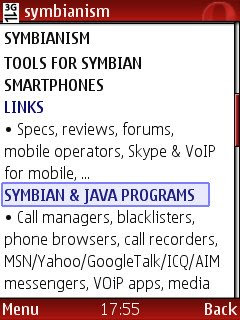 Opera Mini web browser for Symbian mobile phones