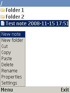MyNotes note application, mobile Java and Symbian