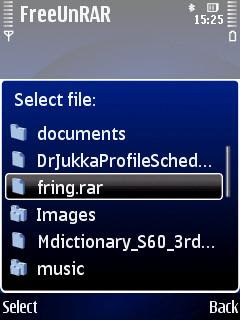 FreeUnRAR Symbian rar archive extraction