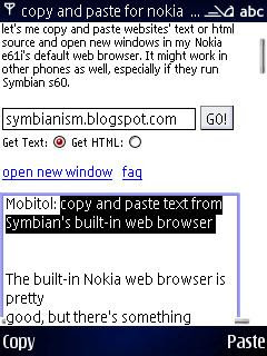 Mobitol copy and paste text from Symban web browser