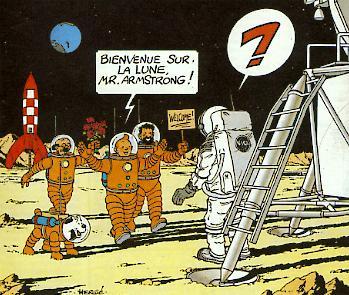 Tintin sur la lune humour Neil Armstrong