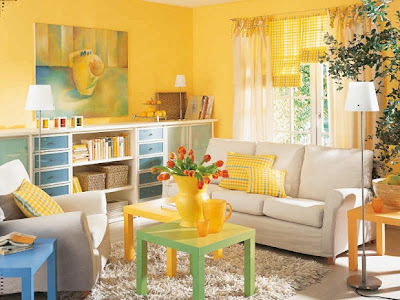 white furniture with vivid colours