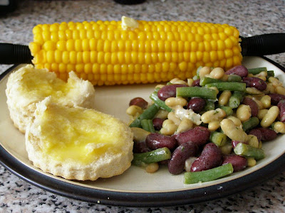 3 bean salad, corn and biscuits