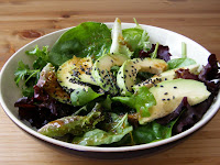Mixed Leaf and Avocado Salad with a Ginger, Sesame and Lime Dressing