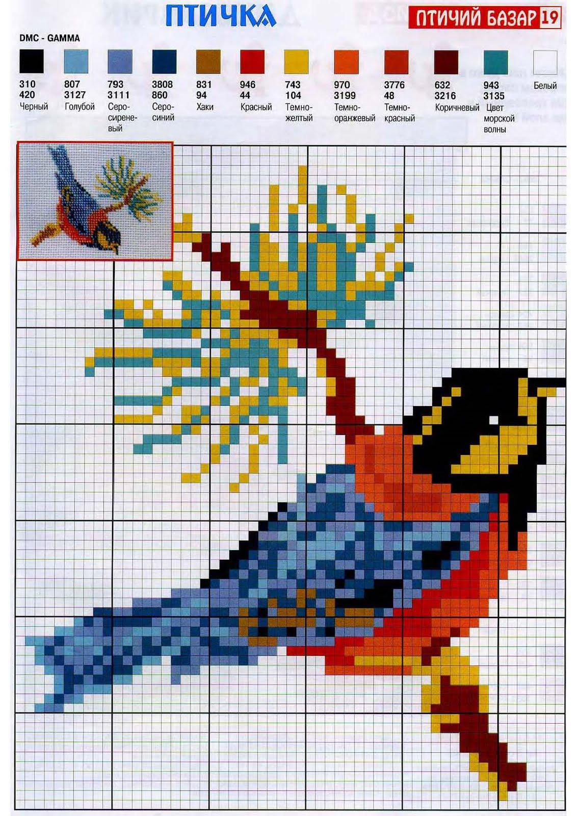 Вышивка птицы по крестикам 860