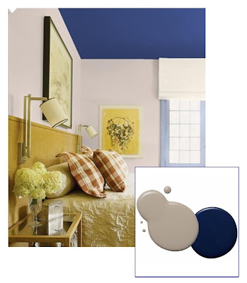 Midnight blue ceiling with beige blue walls