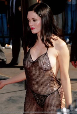 Rose Mcgowan In See Through Dress