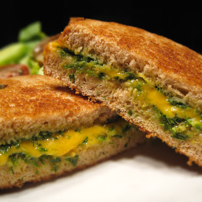 chive pesto grilled cheese sandwich