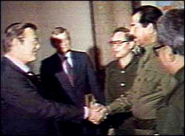 donald rumsfeld guy sold weapons saddam hussein killing people 1980s