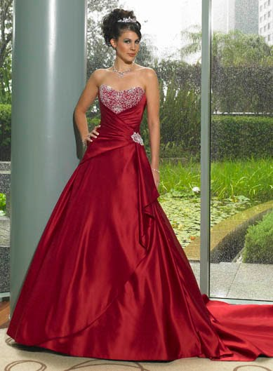 Wedding gown picture beautiful red wedding gown for Red dresses for weddings bridesmaid