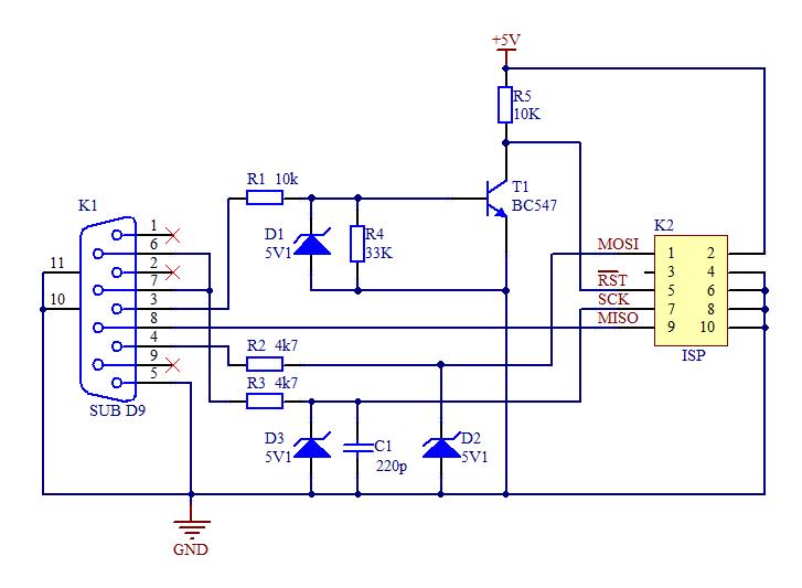 Схема универсального программатора. .  SPI и I2C, что и требуется для программирования микроконтроллеров...