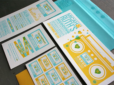 The Mix Tape letterpress wedding invitation is chock full of oldschool