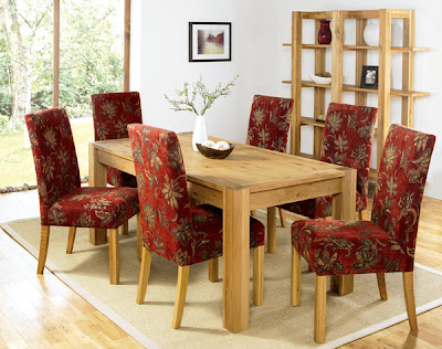 Nyon Oak Extending Dining Set with Red Chairs from Furniture123