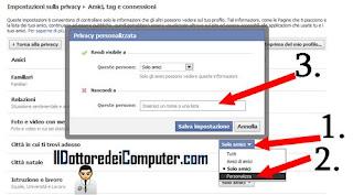 nascondere alcune informazioni agli amici in facebook