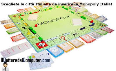 scegliete le città per Monopoly Italia