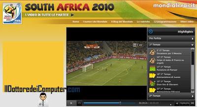 vedere sintesi mondiali calcio 2010