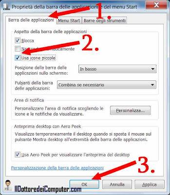 procedura modifica barra delle applicazioni