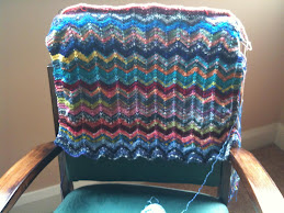 A Chevron striped sock yarn shawl