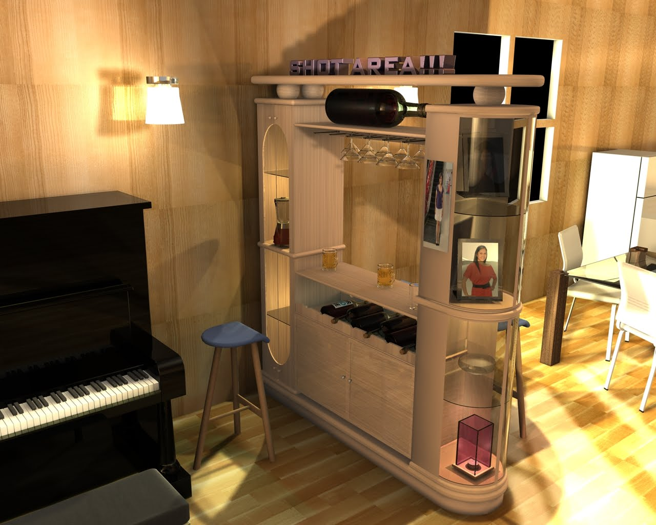 Creative arts mini bar design concept for Mini bar decorating ideas