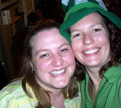 Nadya and Deb at Bunco on St. Patrick's Day - 2010