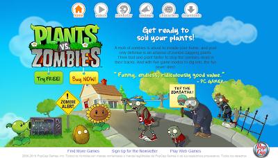 Imagen - Juego - Página Principal de Plantas versus Zoombies