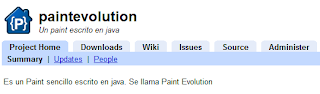 Imagen del repositorio de Paint Evolution en google code