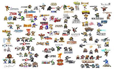 Imágenes de varios personajes de 8 bits