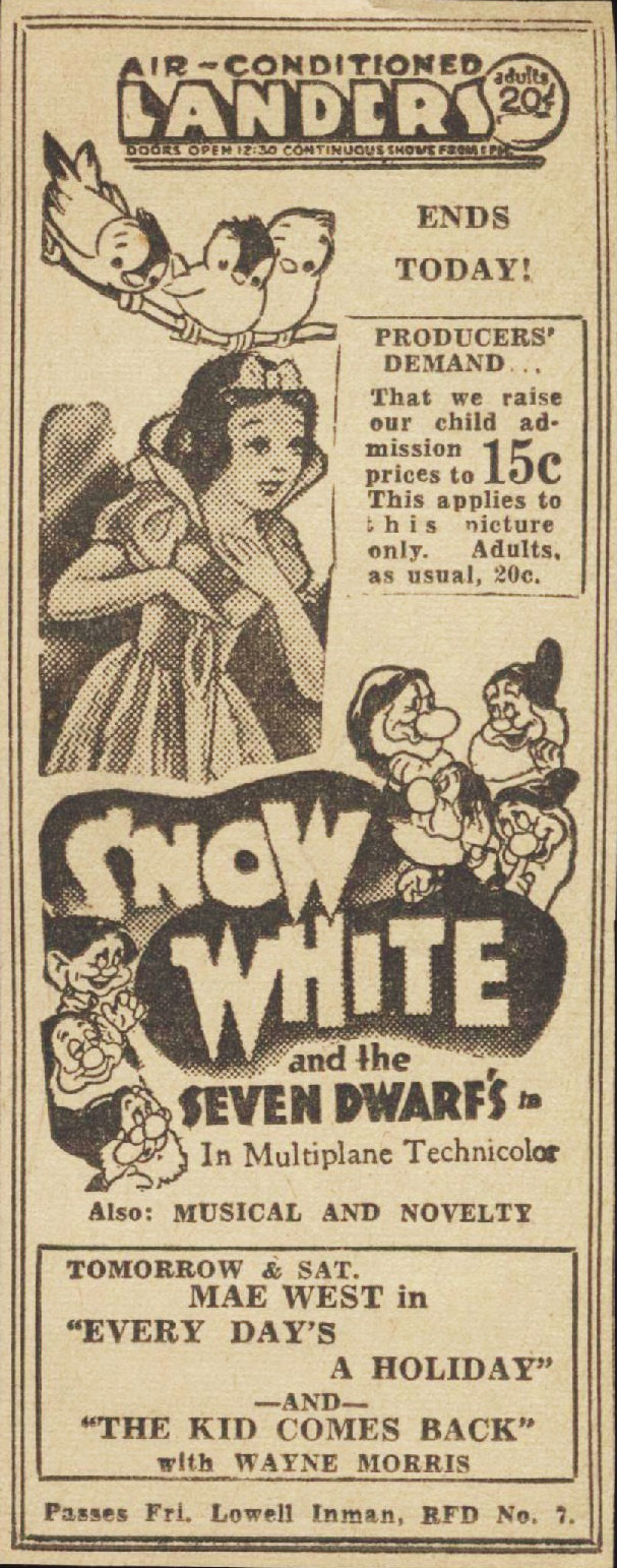 filmic light snow white archive theatre ads