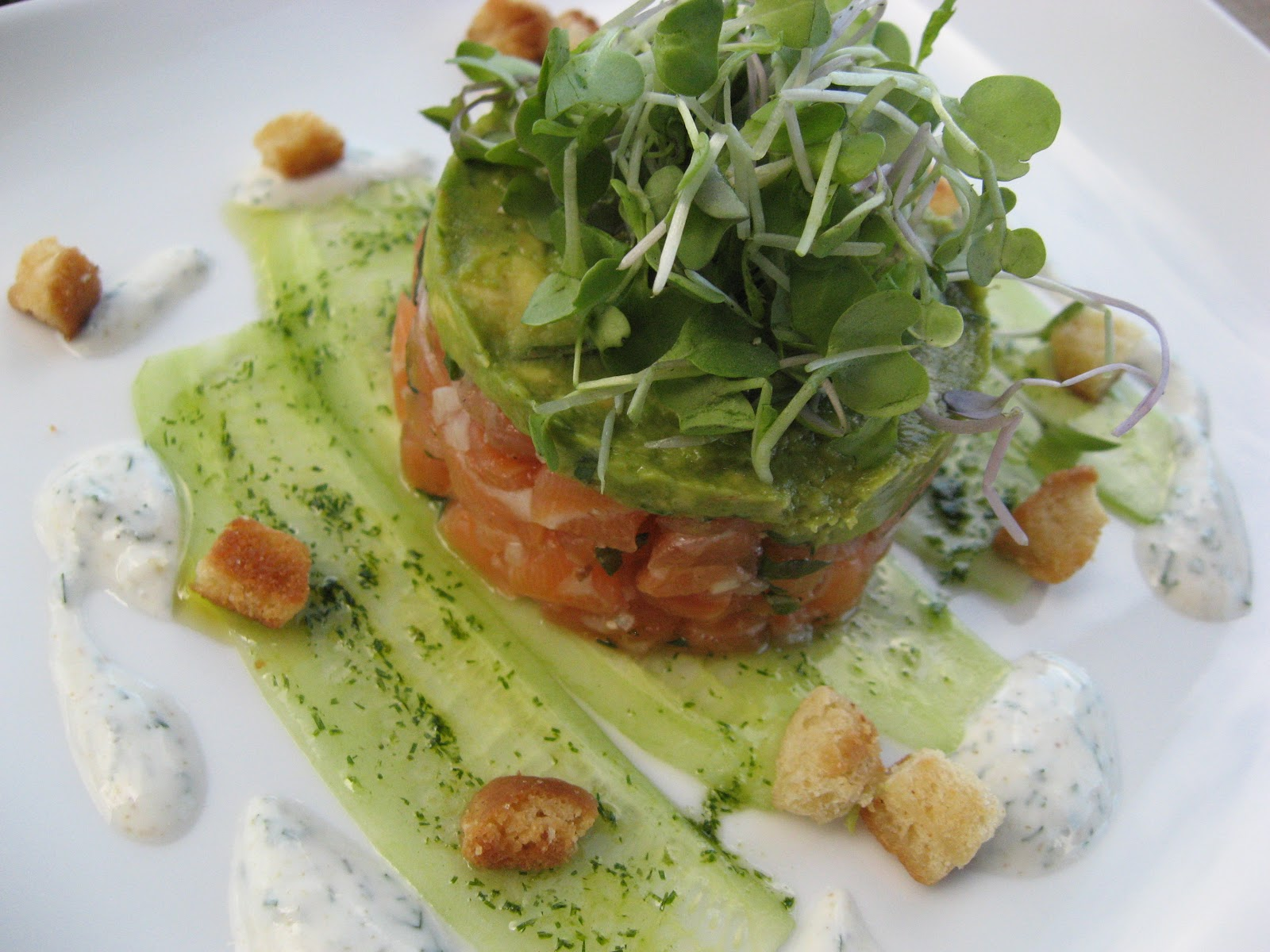 Salmon with herb yogurt, avocado mousse, Persian cucumbers and buttery ...