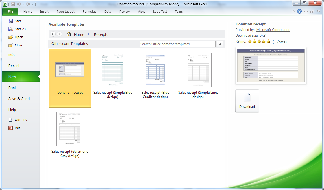 Excel Template 2010