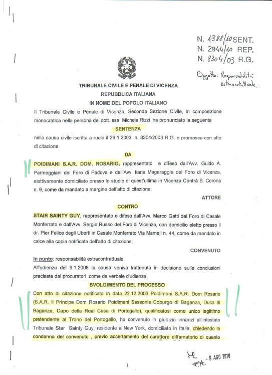 SENTENZA DI CONDANNA A CARICO DI GUY STAIR SAINTY !!!